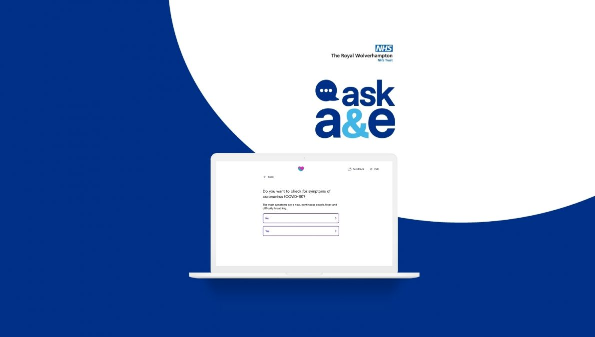 The Royal Wolverhampton NHS Trust ask A&E. A computer screen displaying a symptom checking chatbot.